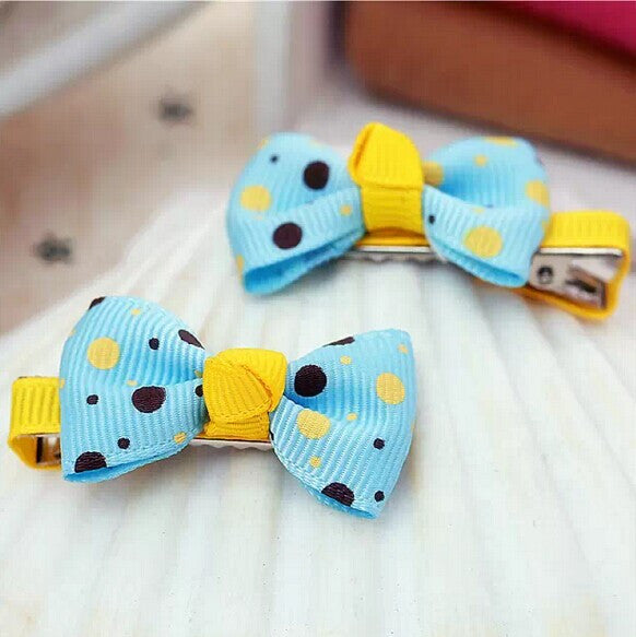 Kidz Outfitters Polka Dot Bow Hair Clips by Kidz Outffiters - KidzOutfitters.com Item  C1200033 Light Blue