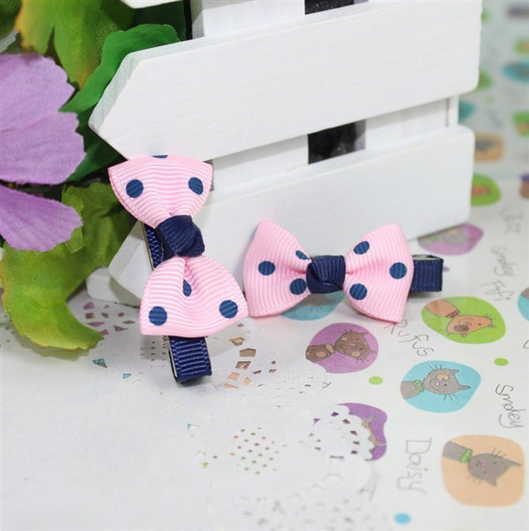 Kidz Outfitters Polka Dot Bow Hair Clips by Kidz Outffiters - KidzOutfitters.com Item  C1200033 Navy & Pink
