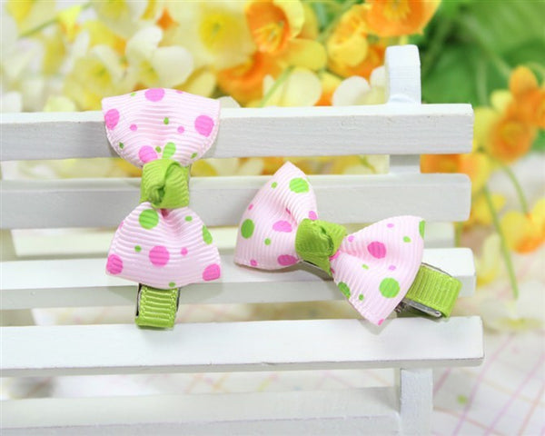 Kidz Outfitters Polka Dot Bow Hair Clips by Kidz Outffiters - KidzOutfitters.com Item  C1200033 Pink & Green