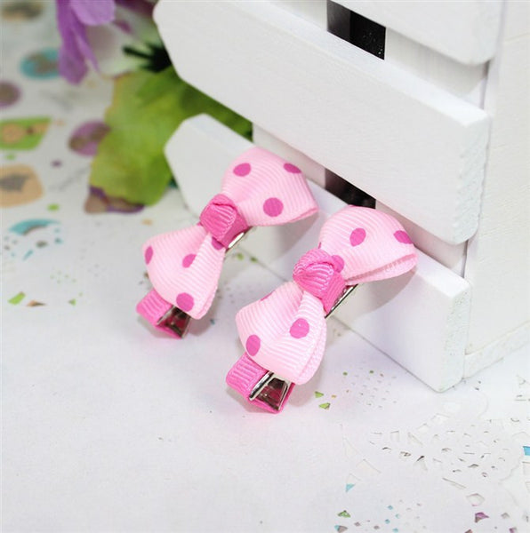 Kidz Outfitters Polka Dot Bow Hair Clips by Kidz Outffiters - KidzOutfitters.com Item  C1200033 Pink