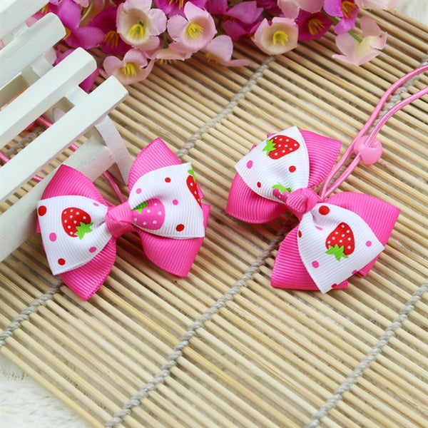Kidz Outfitters Strawberries Grosgrain Bows Hair Tie by Kidz Outffiters - KidzOutfitters.com Item  C1200023 Pink & White