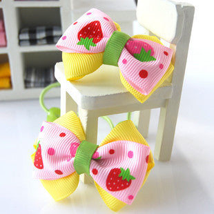 Kidz Outfitters Strawberries Grosgrain Bows Hair Tie by Kidz Outffiters - KidzOutfitters.com Item  C1200023 pink & yellow