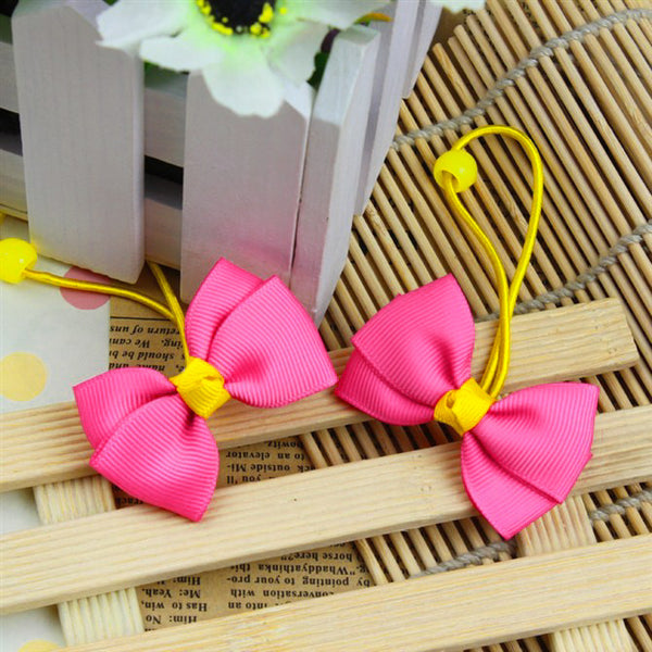 Kidz Outfitters Fuchsia & Yellow Grosgrain Bows Hair Ties by Kidz Outffiters - KidzOutfitters.com Item  C1200025
