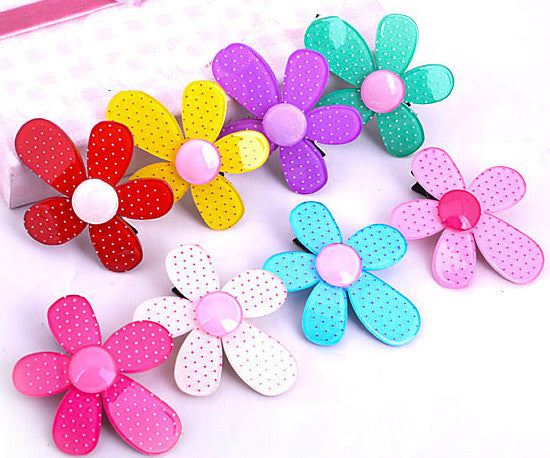 Polka Dot Flower Hair Clips