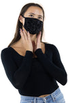 Rhinestone Face Mask in Polyester Material, black color, front view on model