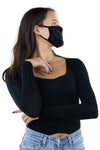Rhinestone Face Mask in Polyester Material, black color, side view on model