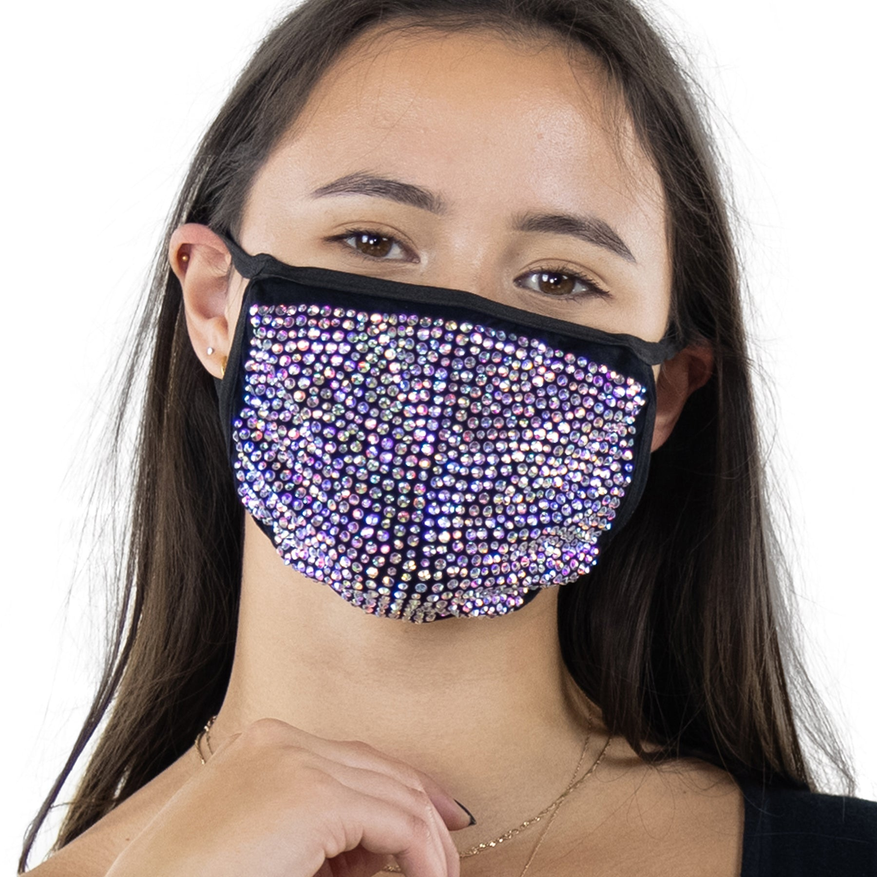 Rhinestone Face Mask in Polyester Material, clear color, front view