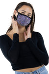 Rhinestone Face Mask in Polyester Material, clear color, front view on model