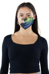Half Face Half Skull Face Mask In Polyester Material, front view on model