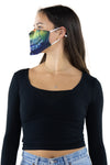 Half Face Half Skull Face Mask In Polyester Material, side view on model, showing colorful skull mouth side