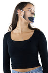 Half Face Half Skull Face Mask In Polyester Material, side view on model, showing human mouth side