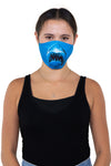 Adult Size Shark Face Mask In Polyester Material, front view on model