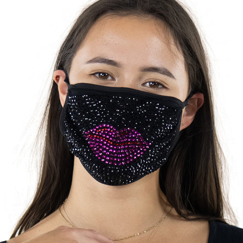 Rhinestone Red Lips Face Mask In Polyester, front view
