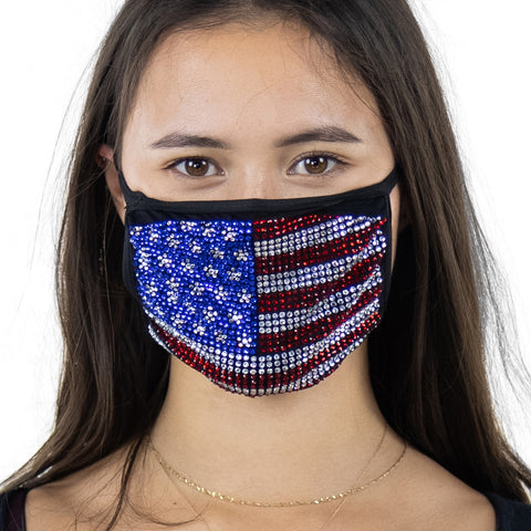 American Flag Rhinestone Face Mask In Polyester, front view