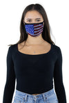 American Flag Rhinestone Face Mask In Polyester, front view on model