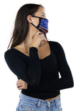 American Flag Rhinestone Face Mask In Polyester, side view on model