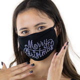 Merry Christmas Rhinestone Crystal Face Mask, front view