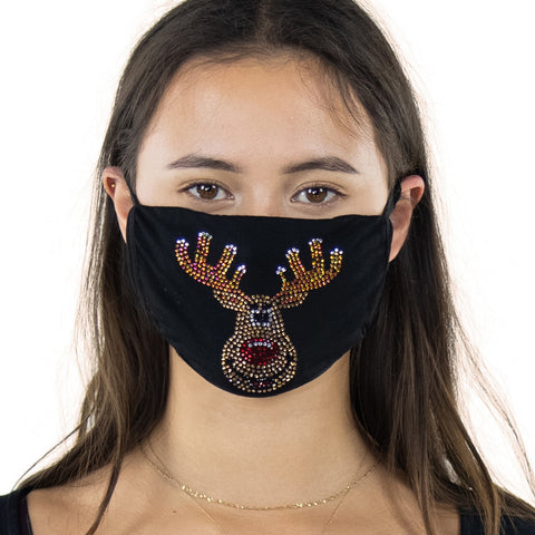 Reindeer Rhinestone Crystal Face Mask,front view