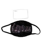 Rhinestone Musical Notes Face Mask in Polyester, front view