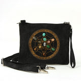 Sacred Geometry Crystal Grid Luck Cross Body Bag in Canvas Material front view