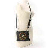 Sacred Geometry Crystal Grid Luck Cross Body Bag in Canvas Material, on mannequin front view