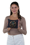 Sacred Geometry Crystal Grid Luck Cross Body Bag in Canvas Material, front view on model
