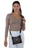 Sacred Geometry Crystal Grid Luck Cross Body Bag in Canvas Material, front view, crossbody style on model