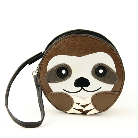Round Sloth Face Wristlet in Vinyl Material front view