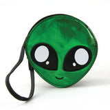 Alien Face Wristlet in Vinyl Material front view