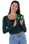 Alien Face Wristlet in Vinyl Material, green color, handheld by model