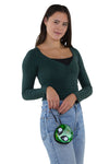 Alien Face Wristlet in Vinyl Material, green color, wristlet style on model