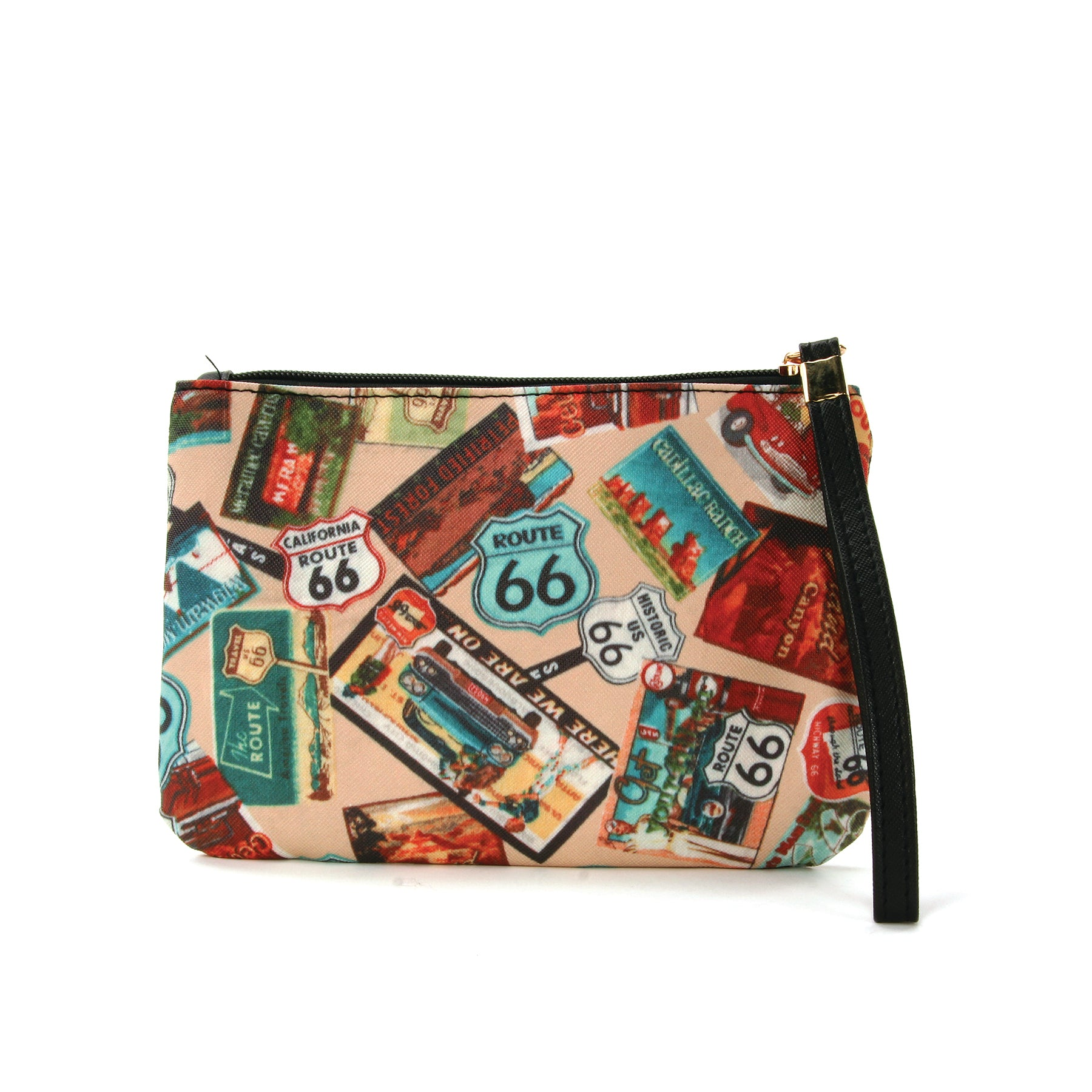 Route 66 Wristlet in Vinyl Material, beige color, front view