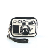 Canvas Mini Wallet Wristlet Bag with Film Camera Image, front view