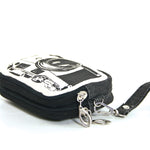 Canvas Mini Wallet Wristlet Bag with Film Camera Image, side view