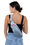 Premium Nylon Shark Fanny Pack with Gill Pockets, sling bag style on model