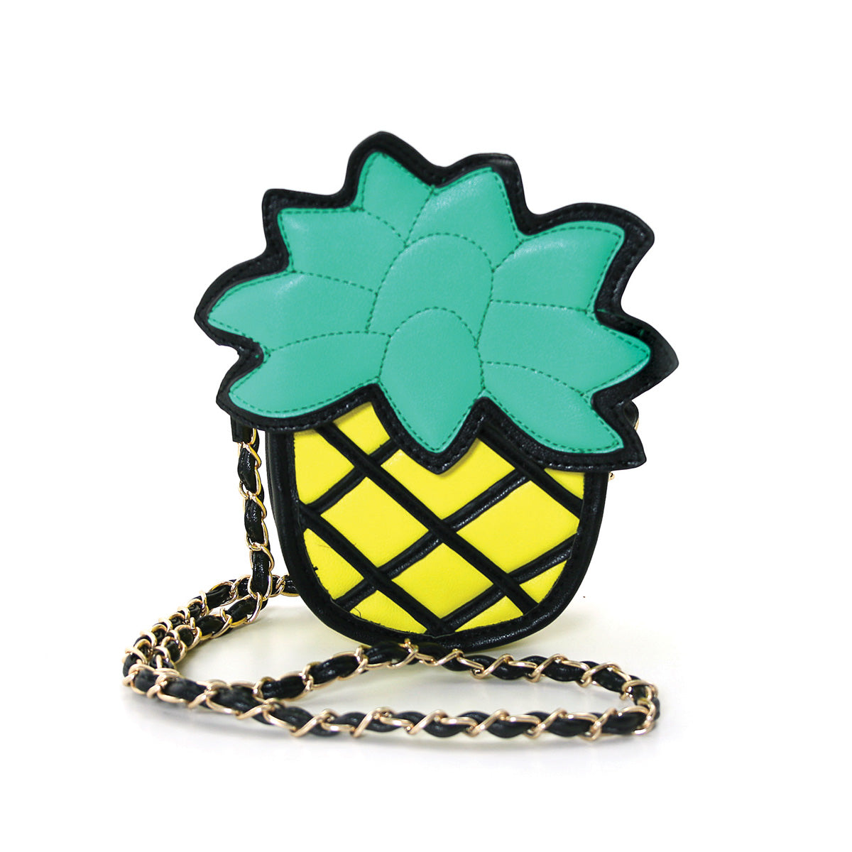 Pineapple Vinyl Shoulder Bag front view