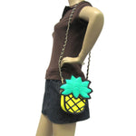 Pineapple Vinyl Shoulder Bag, crossbody style, front view