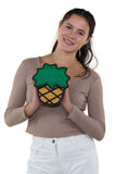 Pineapple Vinyl Shoulder Bag, front view on model