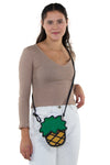 Pineapple Vinyl Shoulder Bag, crossbody style on model