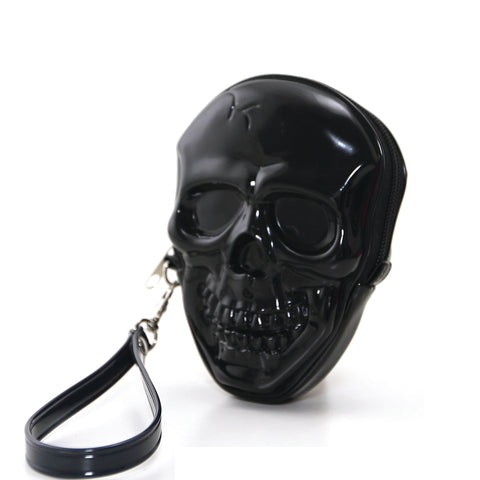 Smiling Skull Zippered Wristlet in Vinyl Material front view