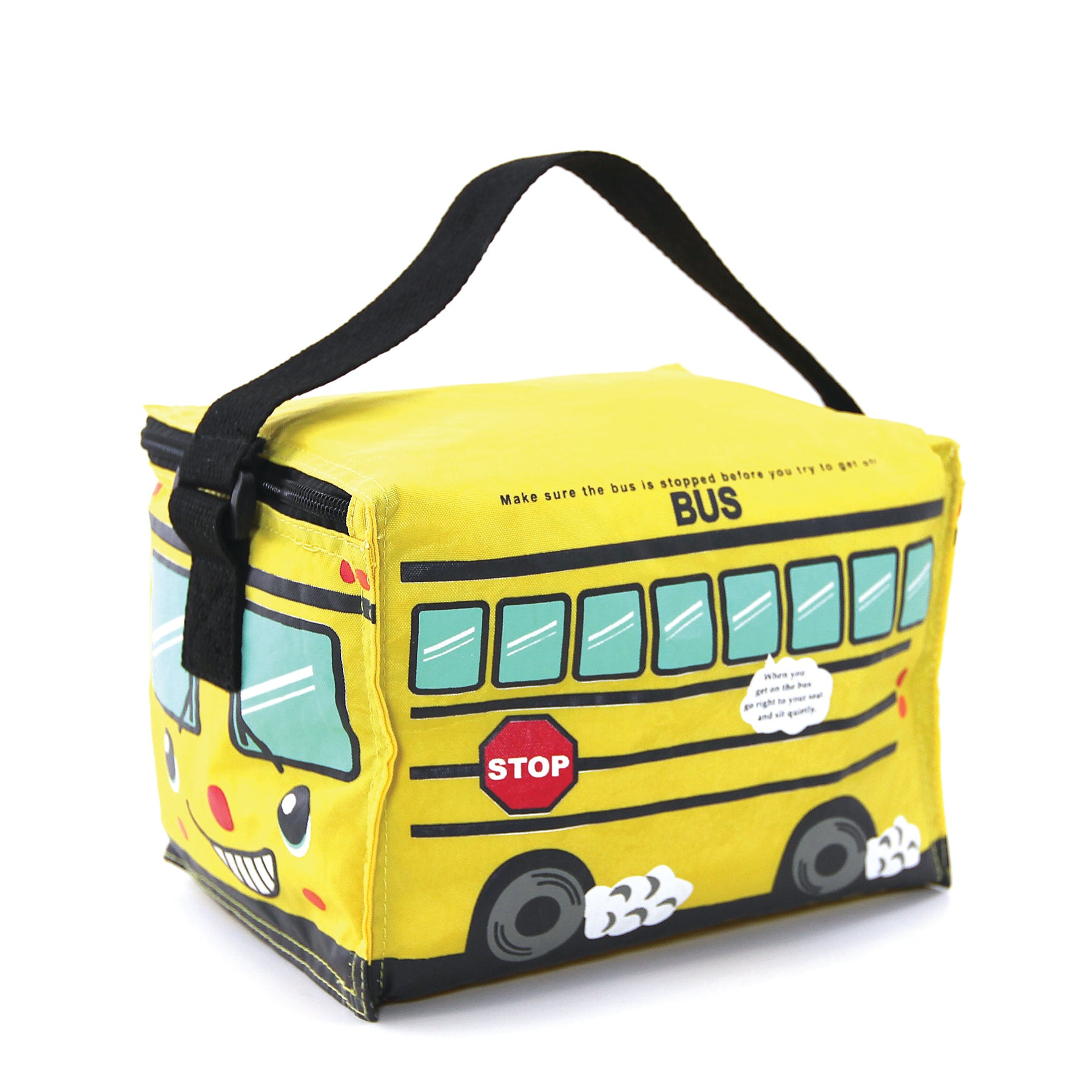 Yellow Bus Insulated Lunch Bag in Vinyl side view