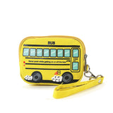 Yellow School Bus Canvas Wristlet side view