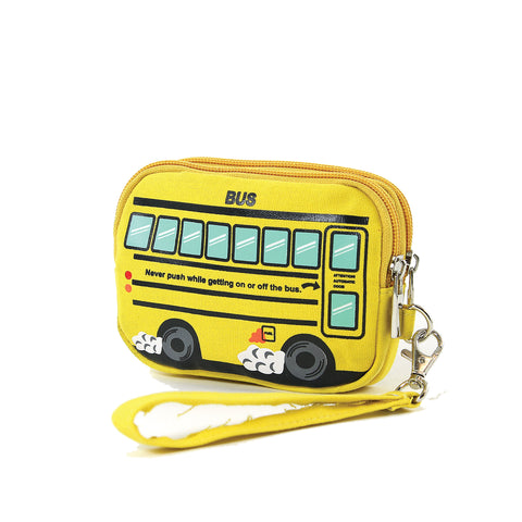 Yellow School Bus Canvas Wristlet, angled side view