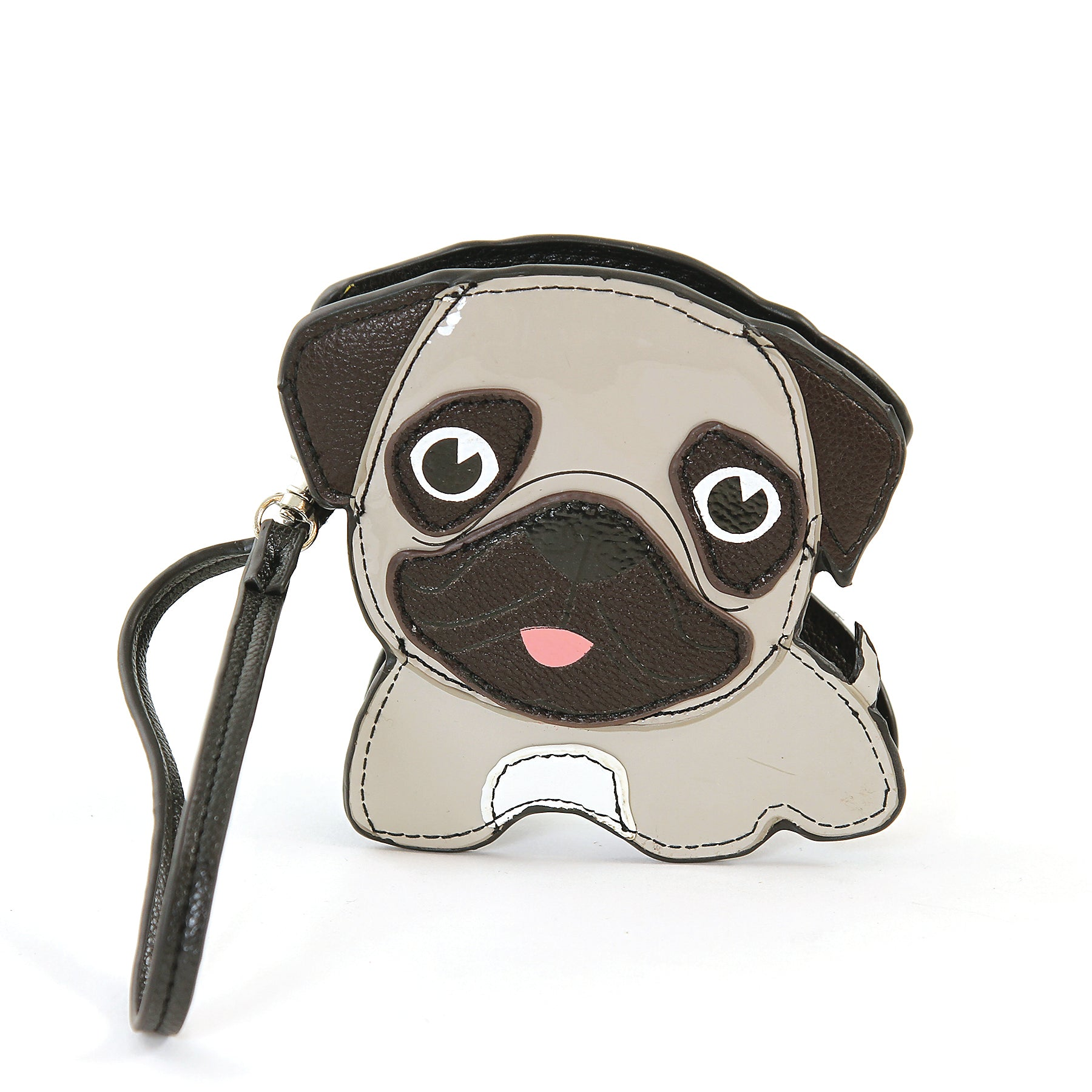 Sleepyville Critters-Pug Puppy Zippered Coin Purse in Vinyl Material front view