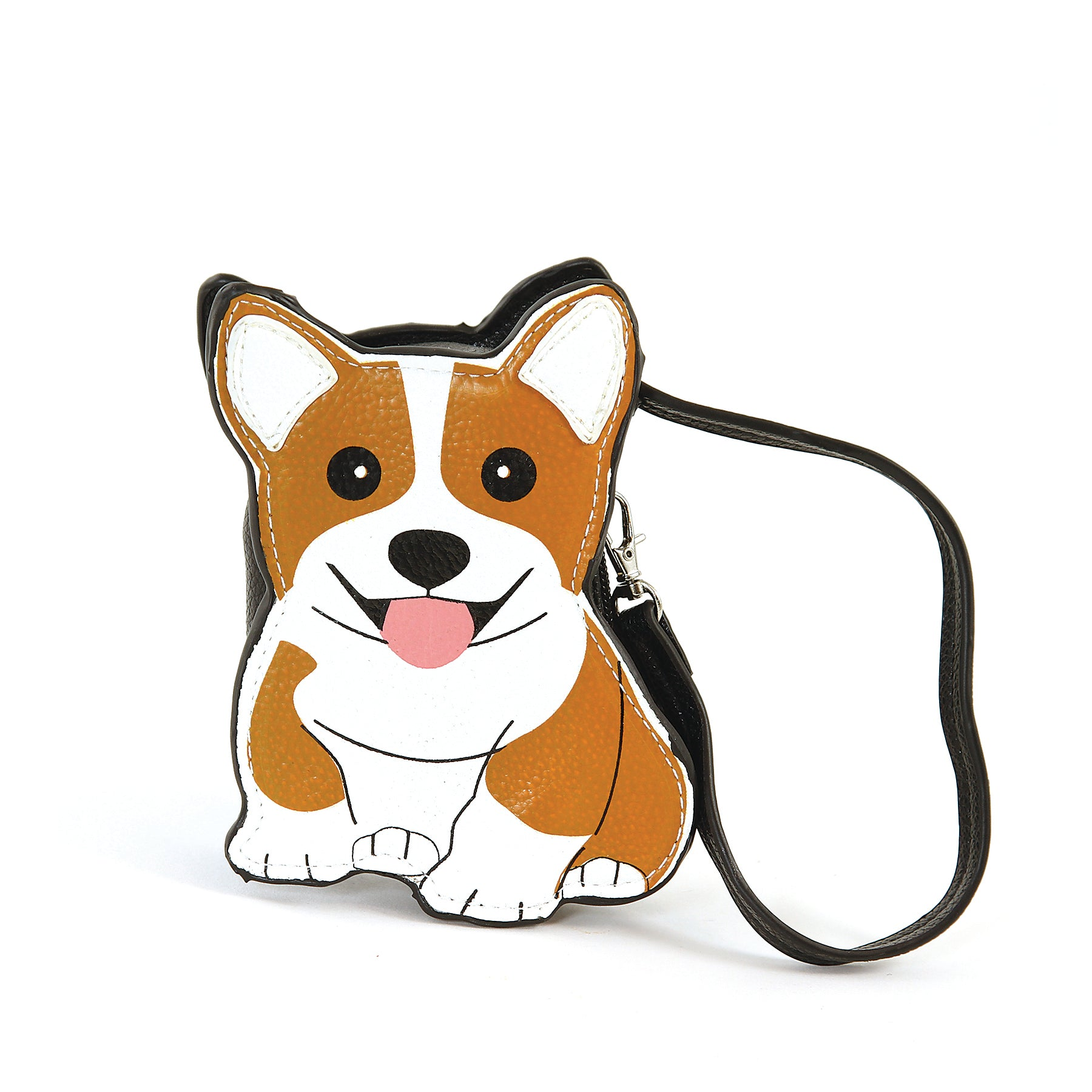 Sleepyville Critters-Corgi Dog Zippered Coin Purse in Vinyl Material front view