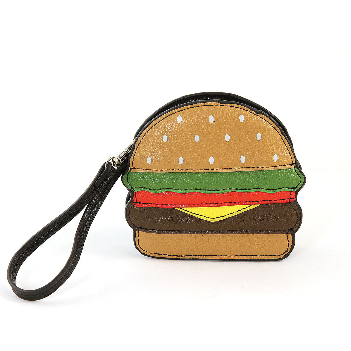 Sleepyville Critters-Hamburger Zippered Coin Purse in Vinyl Material front view