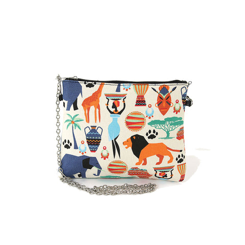 Tribal Print On Canvas Clutch Shoulder Bag, front view