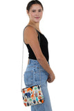 Tribal Print On Canvas Clutch Shoulder Bag, shoulder bag style on model