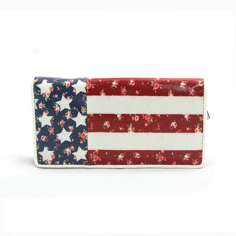Floral American Zip Around Bi-Fold Wallet in Coated Canvas Material front view