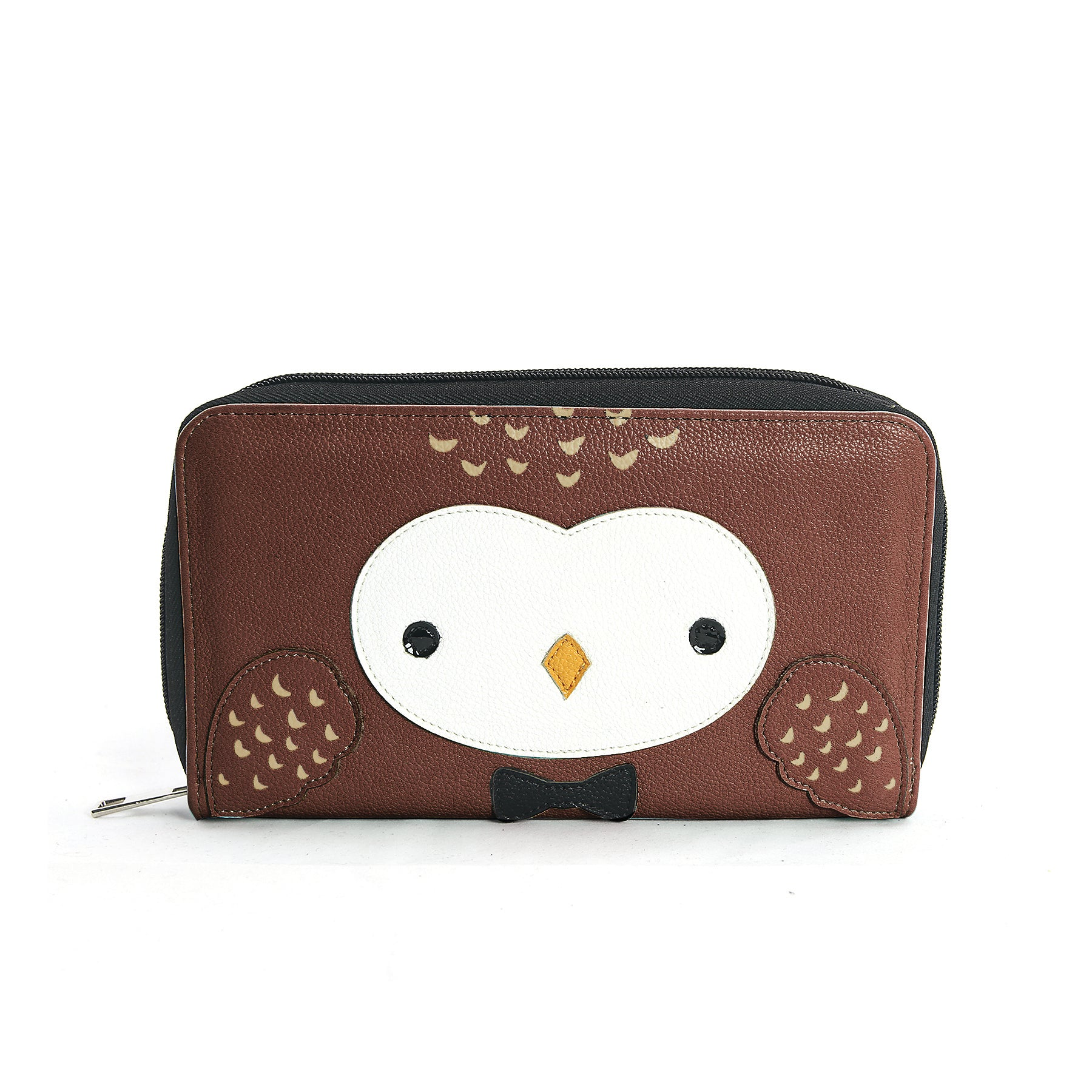 Snow Owl Face Wallet in Vinyl Material front view
